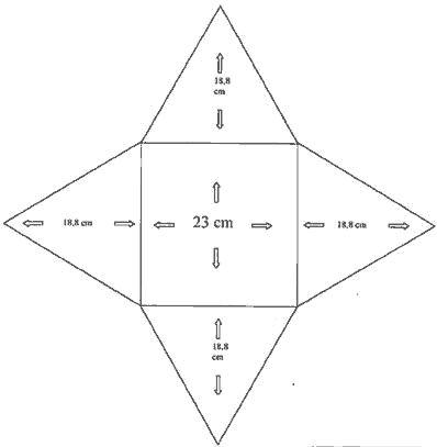 Cardboard pyramid with square bottom