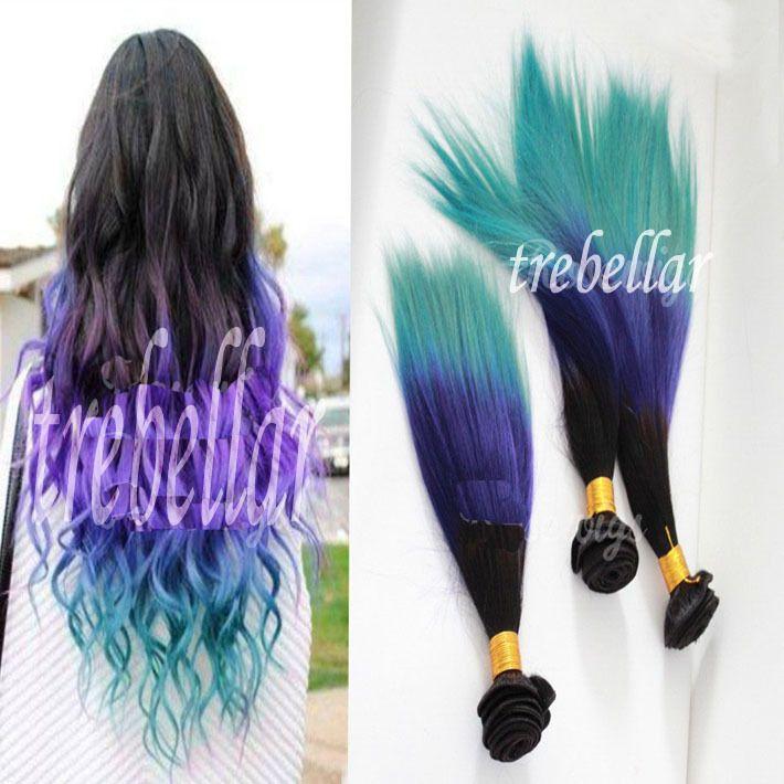 3 Pcs Lot Three Tone Brazilian Virgin Hair Ombre 1B Purple Turquoise Extensions