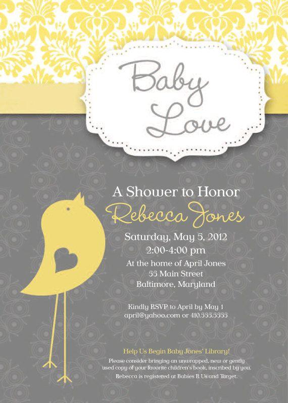 Baby Bird Theme Baby Shower Invitation Grey by SimplySocialDesigns, $18.00