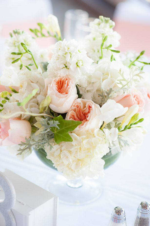 peach wedding centerpiece ~ Michele Conde Photography