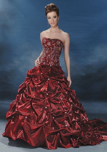 blood red wedding gown