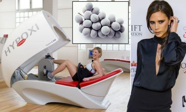 Victoria Beckhams Geheimnis: HYPOXI & gefrorene Trauben. Gegen Cellulite und um ihre Figur zu halten:  Posh at 40: Frozen grapes, treadmill dancing and 'egg pod' biking