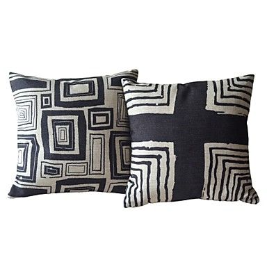 Maybe too stark  Black & White Geometric Cotton/Linen Decorative Pillow Covers – USD $ 24.99