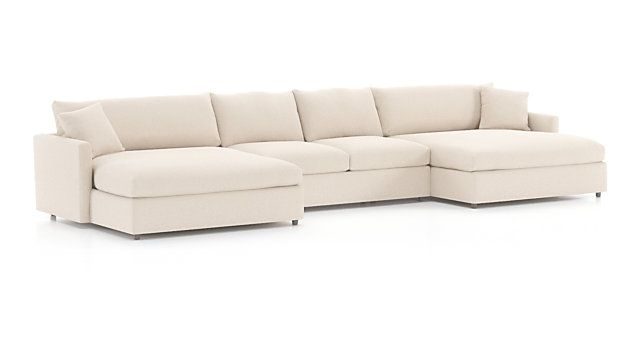 Lounge Ii Petite 3 Piece Double Chaise Sectional Sofa Left Arm