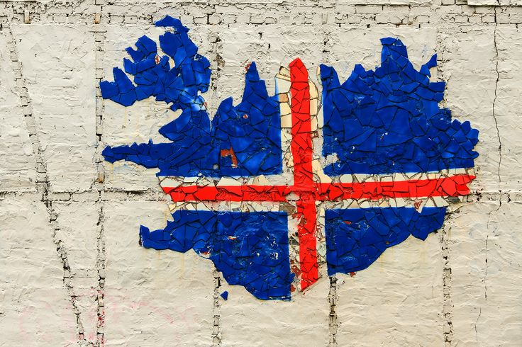 Icelandic flag on a wall made with pieces of glass.