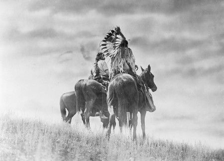 Cheyenne Native American Warriors on horseback