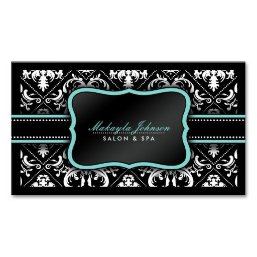 313 best floral design business cards images on pinterest design elegant black and white damask salon and spa business card reheart Gallery
