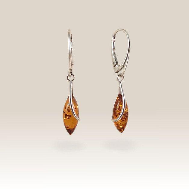Bernstein - Bernstein Ohrring | Geschenkidee | Silber |39x7mm - ein Designerstück von ZaNa-Design bei DaWanda