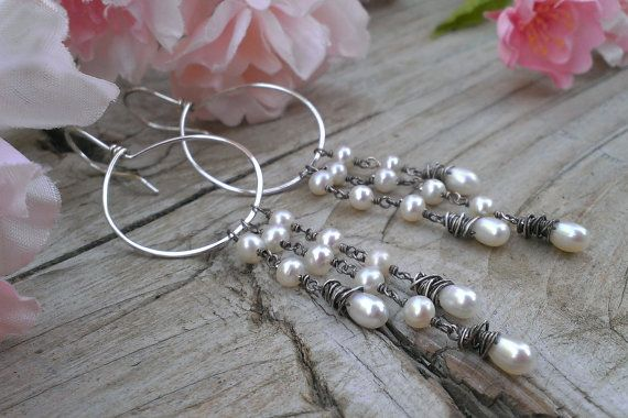 Hoop Earring with Freshwater Pearl Cascade  Choice by gotsparkles, $69.00