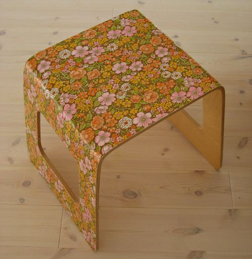 wallpapered ikea stool  (Do you still have these?  You could cuten them.  Cuten should be a word!)
