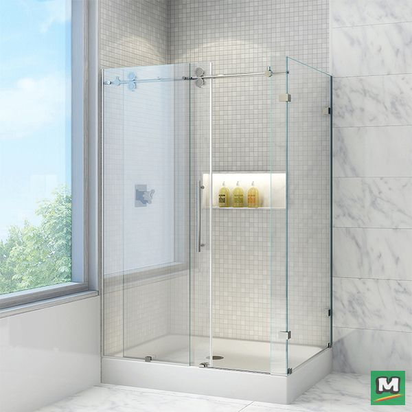 find this pin and more on beautiful baths by menards vigo winslow frameless bypass shower enclosure