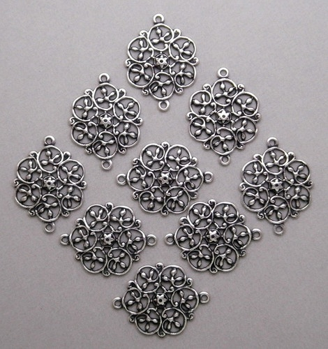 1831 Antiqued SS P Open Filigree 2 Ring Connector 12 PC Lot | eBay