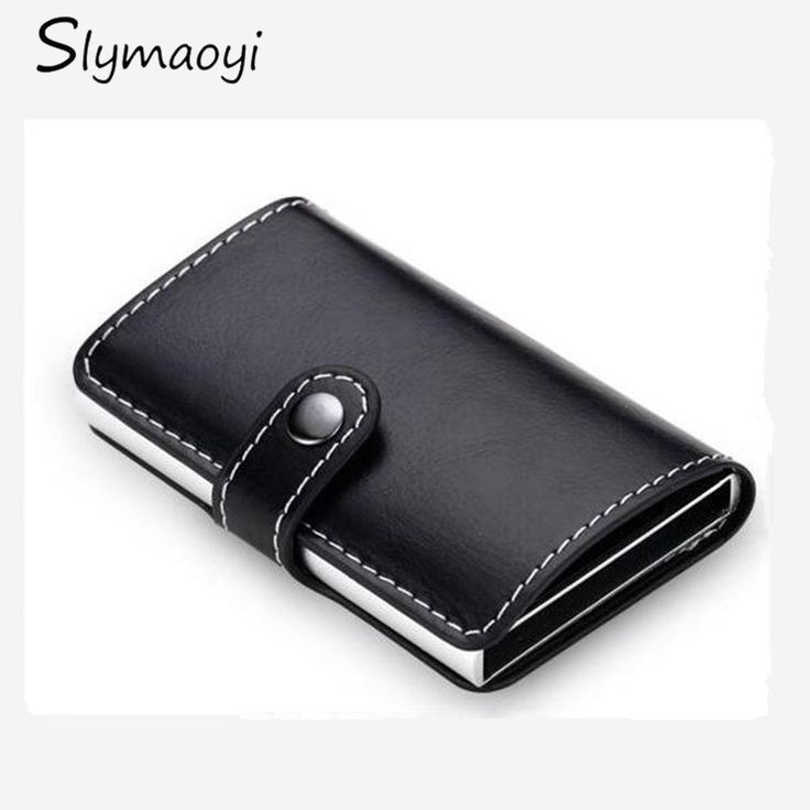 Slymaoyi Antirrobo hombres billetera de cuero pu delgado mini RFID titular de la tarjeta carteras de negocios automática pop-up protector de caso de la tarjeta de crédito