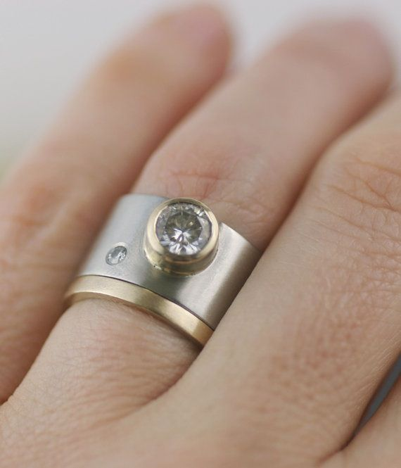"""Image of """"moissanite moon"""" in 14K gold and palladium"""