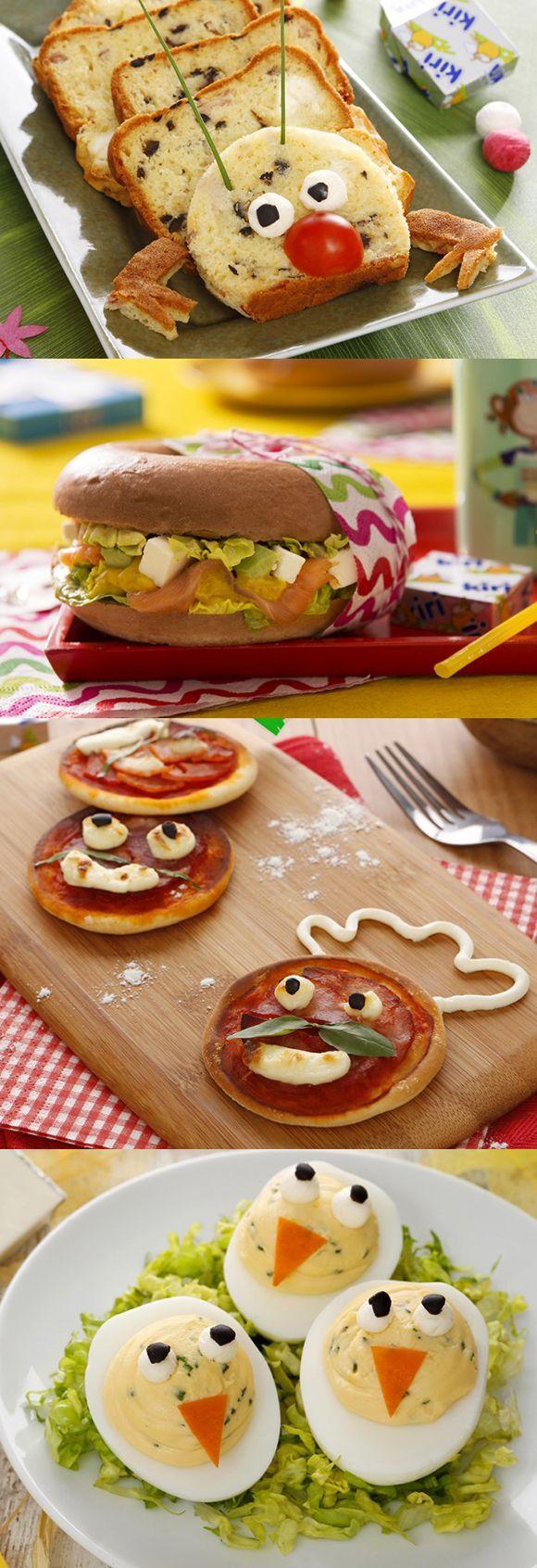 Des dizaines de recettes rigolotes et gourmandes, avec Kiri®, à découvrir sur notre site :) #kiri #recette #miam #yummy #recipe #gourmand #plat #cream #cheese #fromage #kids #food #enfnat #rigolo #fun #foodart #cake #Pizza #baggle #oeuf