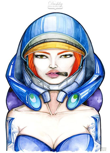 illustration by #dushky | #art #fashion #illustration #gaming #videogames #starcraft #girl #ginger #orange #blue #lips #look #cigar #tattoo #watercolor #metal #armour #corphack