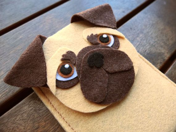 Pug iPhone Case  Dog Felt Phone Cover   Cell Phone by LayonStore, €16.00