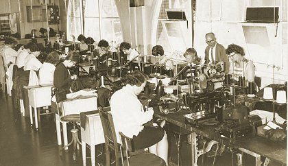 Melbourne & Metropolitan Tramways Board Tailoring Section workroom at Hawthorn Depot in 1965. Over four decades from 1940  the Tailoring Section made all M&MTB uniforms - read its story at http://www.hawthorntramdepot.org.au/papers/clothingfactory.htm. Official M&MTB photograph.