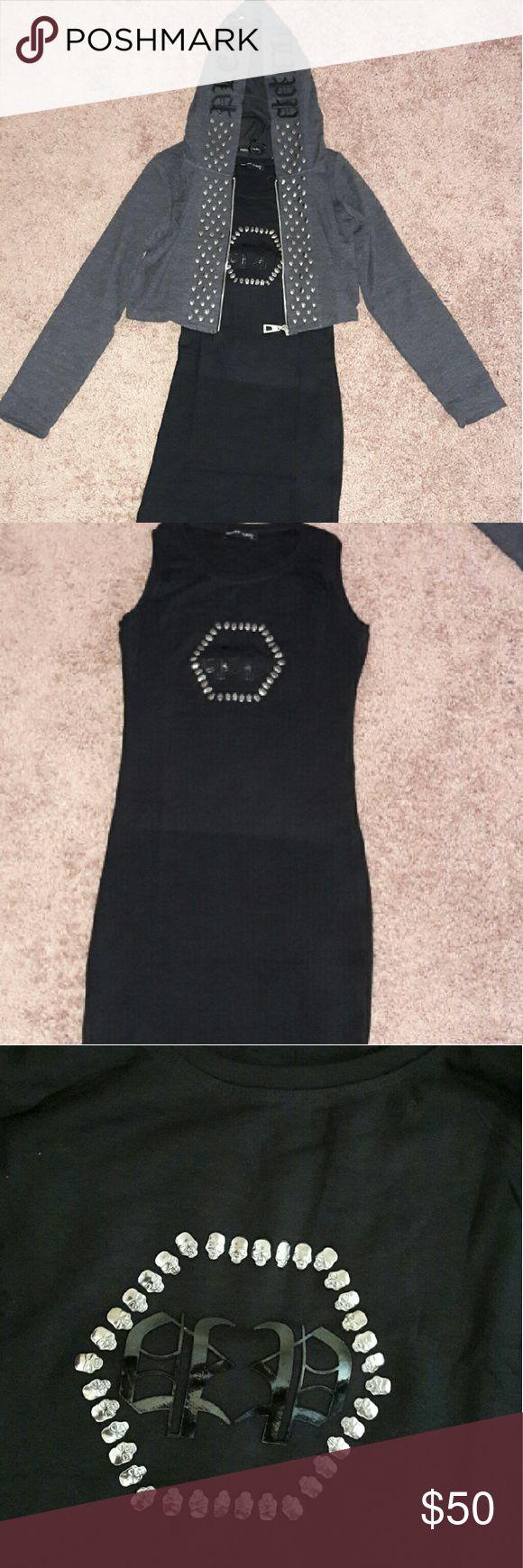 Philipp plein 100 % AUTHENTIC black  dress Fashion skull black dress with skull  jacket Dresses Mini