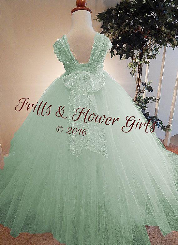 Mint Green Flower Girl Dress Mint Green by FrillsandFlowerGirl