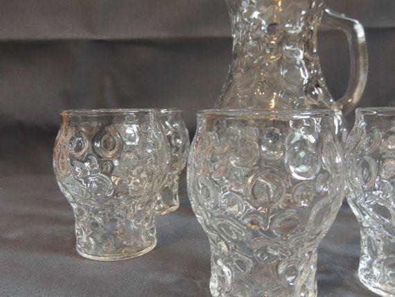 Saft  Krug  Glas  Set  60er / 70er Jahre   kultig
