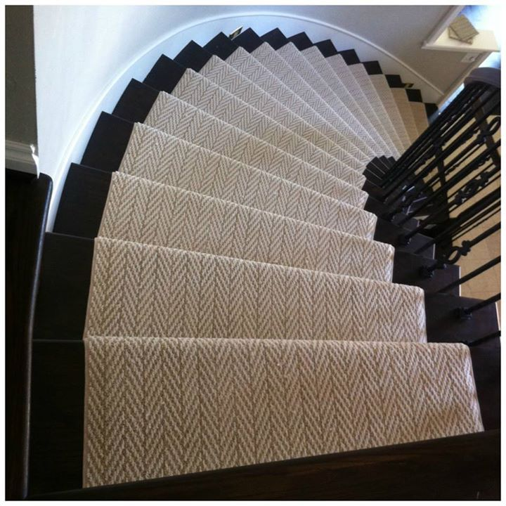 Stairs don't have to be boring. Custom herringbone carpet runner on hardwood stairs. Carpet from Tuftex.