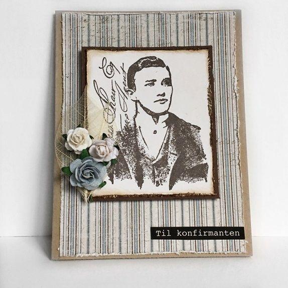 Håndlaget konfirmasjonskort til gutt i vintage-stil. Kortet har håndstemplet motiv og roser til pynt.