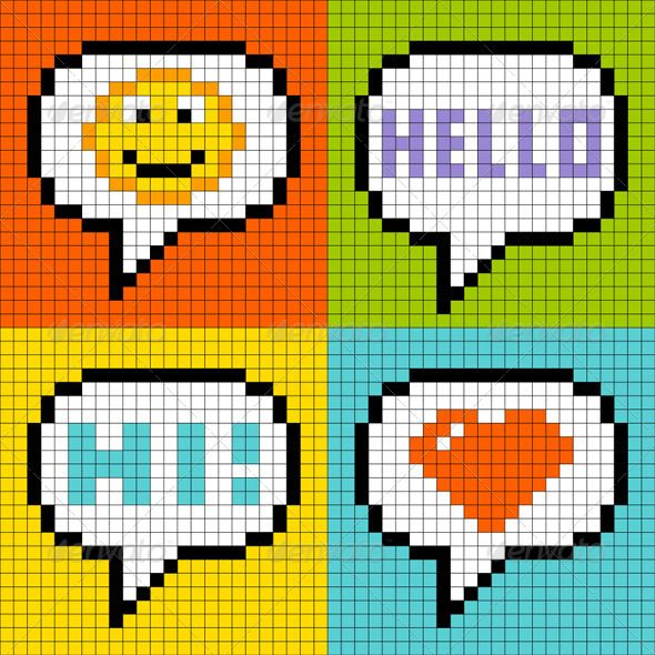 8-Bit Pixel-Art Online Messaging Bubbles 8-bit, bubbles, chat, communication, emotion, expression, greeting, grid, happy, heart, hello, icon, illustration, instant messaging, love, media, messaging, network, networking, online, pixel, pixel-art, retro, small, smiley, social, speech, square, vector, welcoming, 8-Bit Pixel-Art Online Messaging Bubbles