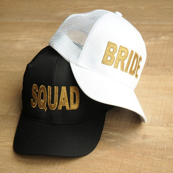 Kit the whole bride squad out with this gorgeous black SQUAD baseball cap with metallic gold embroidery, perfect for the beach. White BRIDE cap also available. Handmade in the UK. One size fits all. Mesh back. Adjustable back snap