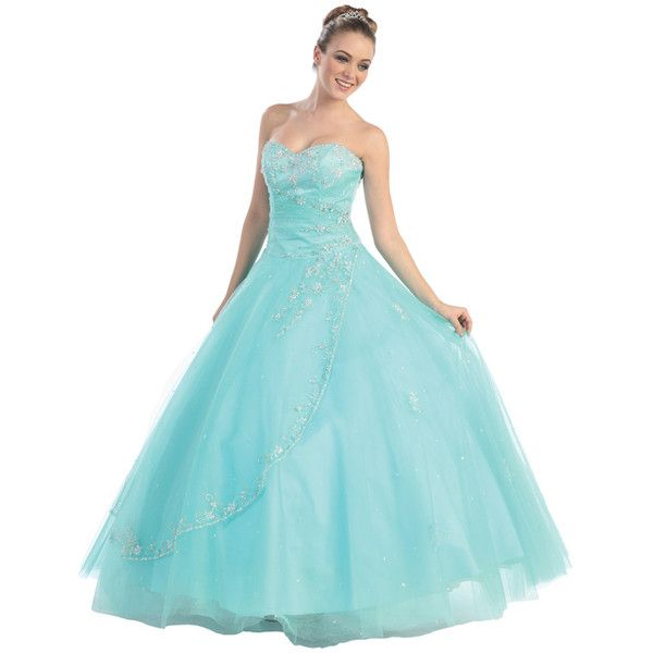Prom Dresses! Precious Aqua Loren Quinceanera or Prom Gown ($284) ❤ liked on Polyvore featuring dresses, gowns, women, blue prom dresses, prom dresses, floral dresses, blue ball gown and sequin prom dresses