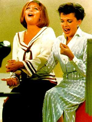 """Judy Garland and Barbra Streisand  sang together on, """"The Judy Garland Show"""" in 1963...priceless! My two favorites, together."""