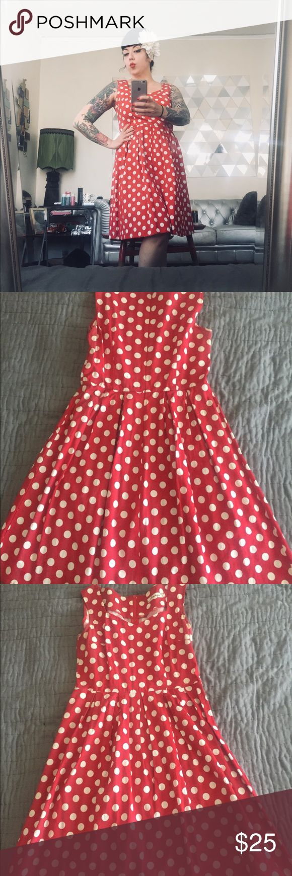 "Pin up polka dot A line dress Super flattering red and white polka dot dress. Great for all figures!! Very comfortable. Pair it with a red cropped sweater, chunky earrings, and white wedges!  Bust: 18"" laying flat  Waist: 15.5"" laying flat  Hips: A line/open Length: 37"" shoulder to hem Dresses Midi"