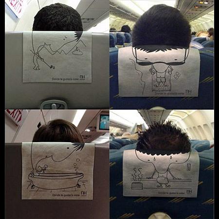Creative Ads On Airplanes. María, si te aburres en el avión puedes pasar el tiempo así.