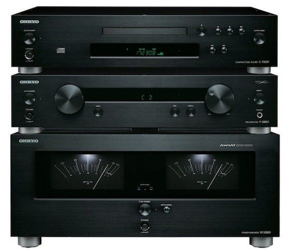 Onkyo elite hi-fi separate components: this trio is made up of the $1,499 C-7000R CD player, the $1,699 P-3000R pre-amplifier, and the $2,499 M-5000R power amplifier
