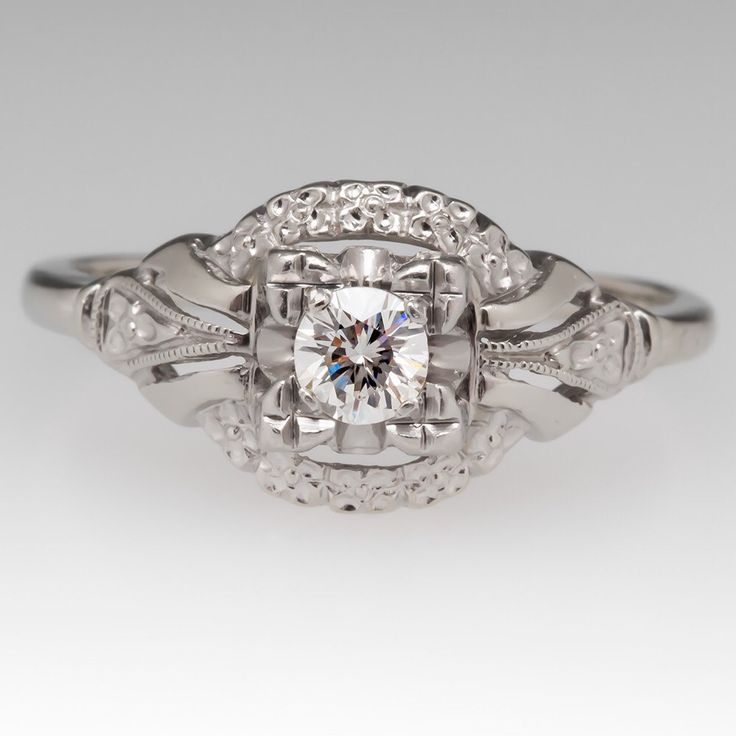 Vintage Engagement Ring - 1950's Diamond Solitaire Floral Motif - 14K White Gold With Palladium Engagement Ring - WM11927 by EraGem on Etsy https://www.etsy.com/listing/507976187/vintage-engagement-ring-1950s-diamond