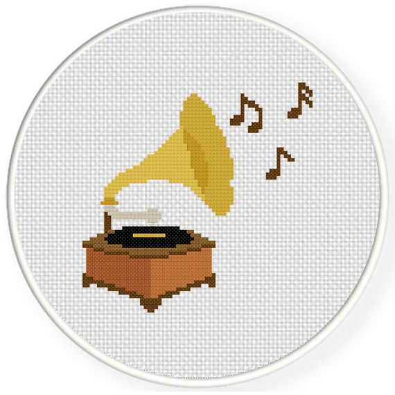FREE for May 13th 2015 Only - Grammophone Cross Stitch Pattern-musique