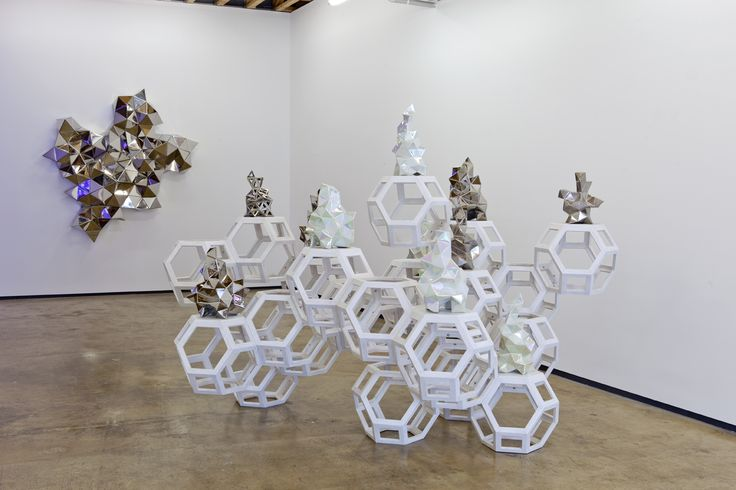 Gregor Kregar / Fragmented-Habitat-2-2012-wooden-modules-glazed-PVD-porcelain-sculptures.
