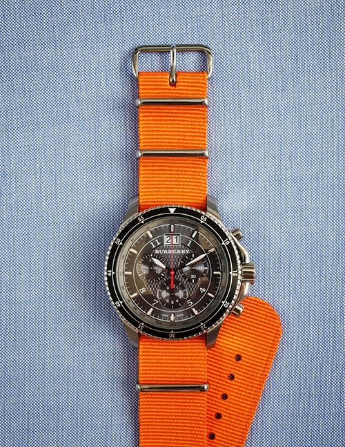 burberry: Fashion, Style, Mens, Burberry Watch, Cool Watches, Orange Strap, Men Watches