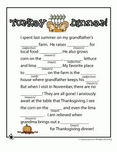 Thanksgiving Mad Lib - Turkey Dinner