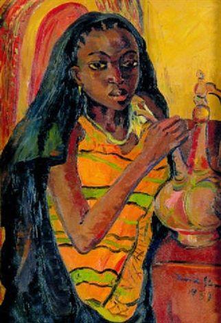 A Zanzibar woman with a brass water ewer by Irma Stern