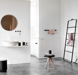 Towel Ladder by MenuTowels Ladders, Norm Architects, Bathroom Accessories, Menu, White Bathroom, Bath Collection, Bathroom Interiors Design, Concrete Floors, Products