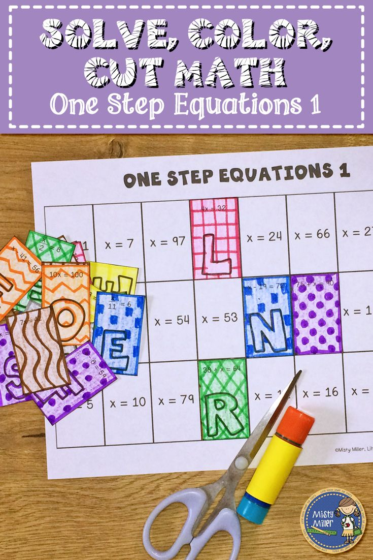 Practice solving one step equations with this math coloring activity. Students solve the equation (whole numbers, no integers) and color/design the rectangles as they want. Then they cut the pieces out and glue them to the answer sheet for an engaging & self-checking math activity.  $ grade 6-8 #math #mathreview #mathcenter #mathcolorpage #coloringinmath #onestepequations