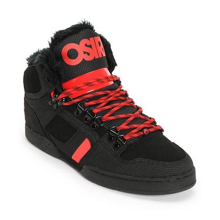 Osiris NYC 83 Black, Red & Shearling Shoe