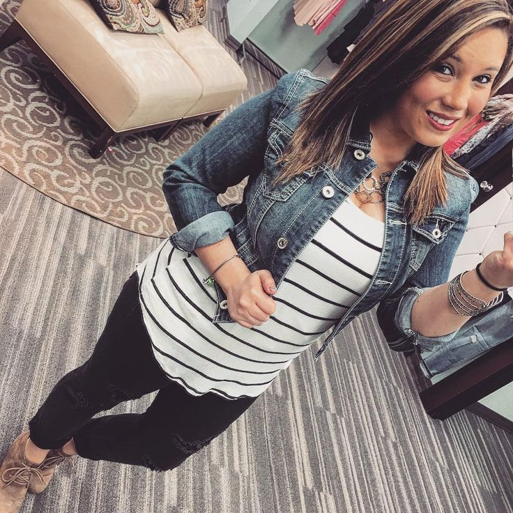 Denim jacket, striped tee, black jeans and tan wedge lace-ups   Maurices