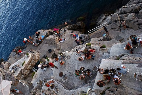 Bar right on a cliff in Croatia