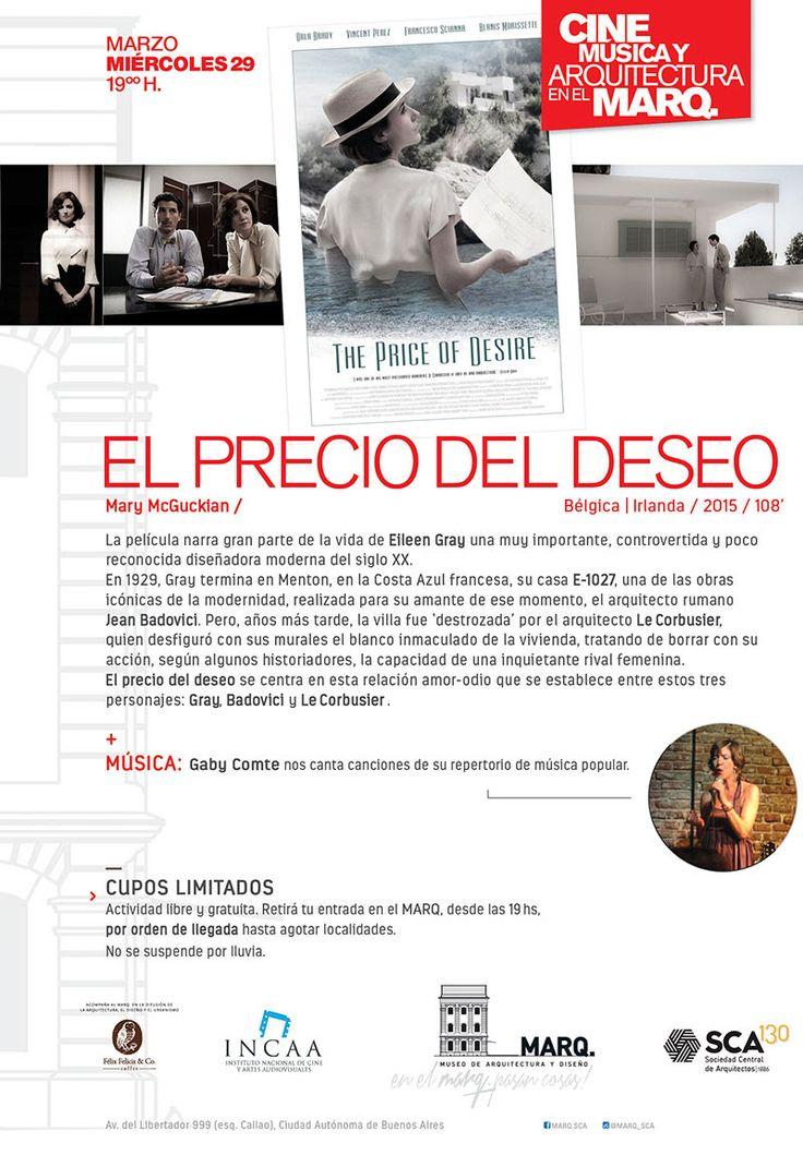 MARQ | CINE Y MÚSICA: EL PRECIO DEL DESEO  El Museo de Arquitectura y Diseño de la SCA abre un nuevo ciclo artístico el próximo miércoles 29 de marzo a las 19 horas.  Más info: http://ly.cpau.org/2nhCPRq  #AgendaCPAU #RecomendadoARQ