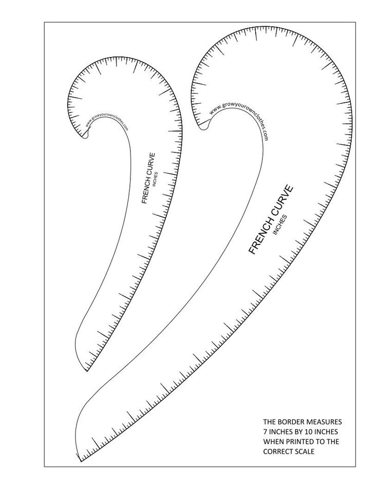 Printable pdfs of Imperial and Metric French curves and hip curves.