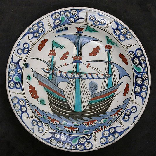 Dish with Sailing-ship Design Object Name: Dish Date: ca. 1600 Geography: Turkey, Iznik Culture: Islamic