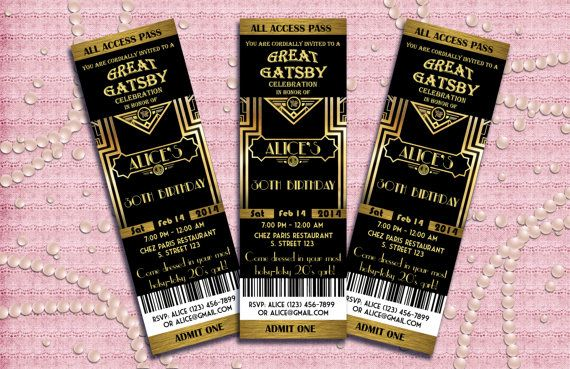 Great Gatsby Style Art Deco Birthday Party Invitation 21st 30th 40th 50th 60th 70th 80th 90th -  1920's, 20's Style  - Printable DIY on Etsy, $10.00