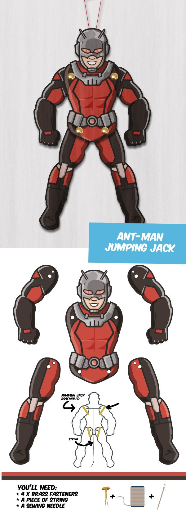 Create your own Superhero paper puppet Ant-MAn